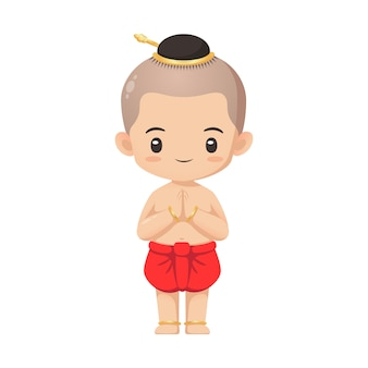 Cute thai boy character in traditional costume in respecting action use for illustration