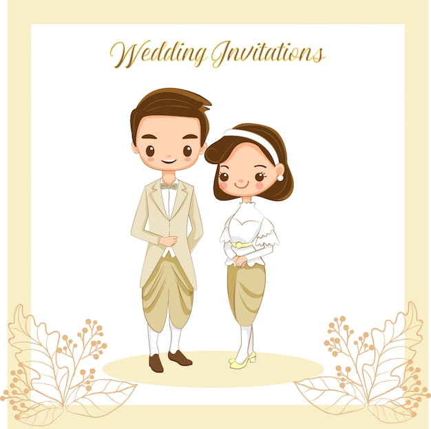 Cute thai bride and groom for wedding invitations card