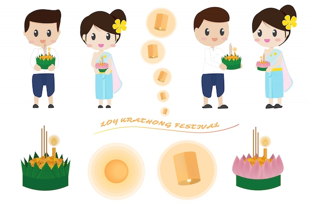 Cute thai couple in loy krathong festival elements collection