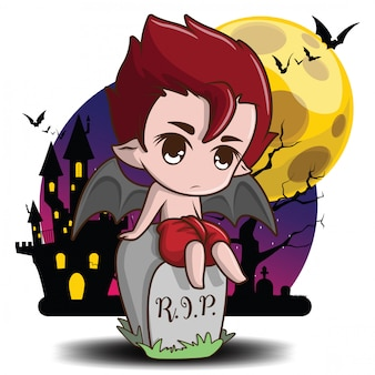 Cute thai devil cartoon on full moon background halloween