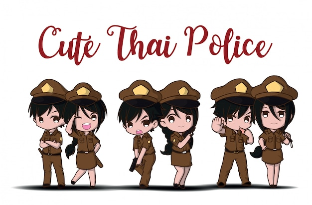 Cute thai police working in uniform standing happy