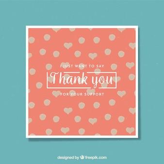 水玉とハートでかわいいカードありがとう