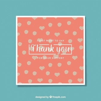 Cute thank you card with polka dots and hearts
