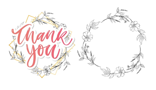 Cute thank you lettering with flowers