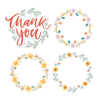 Cute thank you script card and floral wreath set