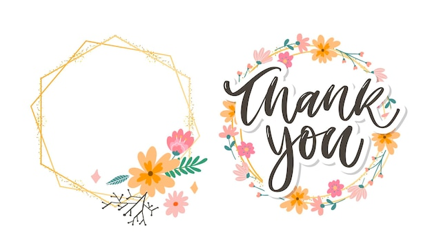 Cute thank you script with flowers  and golden frame set
