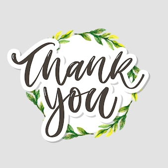 Cute thank you text in floral wreath