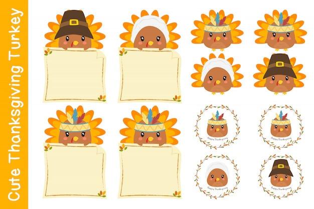 Cute thanksgiving characters and turkeys vector collection.