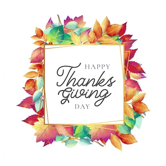 Cute thanksgiving day card with autumn leaves