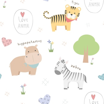 Cute thin line animal cartoon doodle seamless pattern