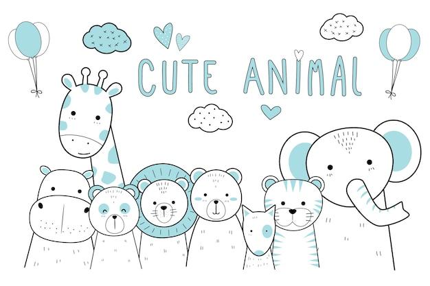 Симпатичные тонкие линии животных мультфильм каракули пастель