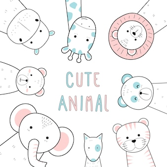 Cute thin line animals cartoon doodle pastel