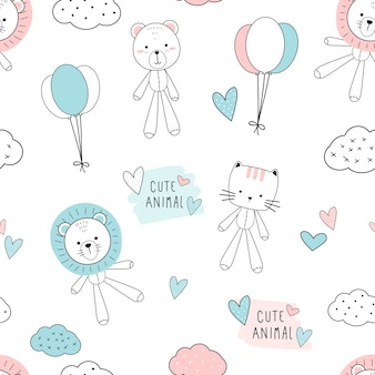 Cute thin line animals cartoon doodle seamless pattern