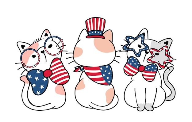Cute three funny cat american independence day 4 july with stripes and stars