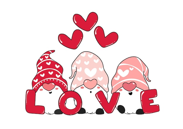 Cute three pink gnome love with heart.