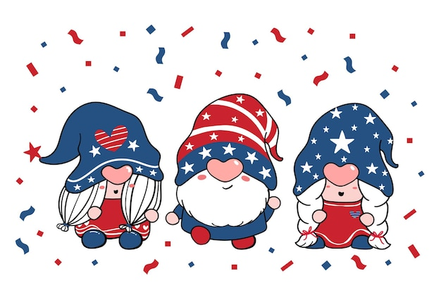 Cute three trio gnome independence day 4th of july