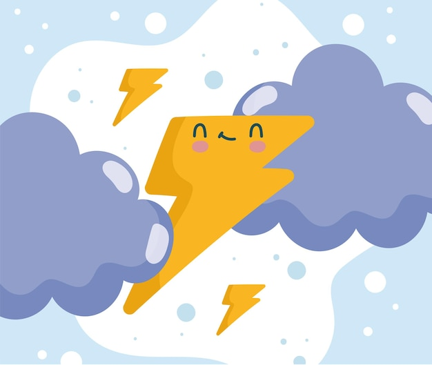 Cute thunderbolt and clouds