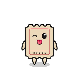 Cute ticket character in sweet expression while sticking out her tongue , cute style design for t shirt, sticker, logo element