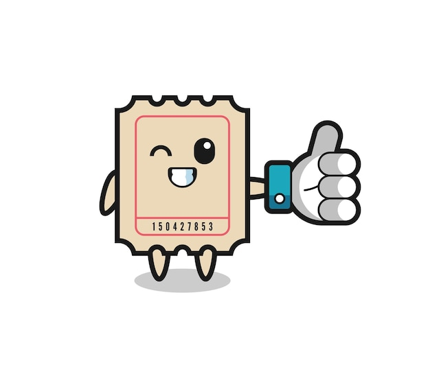 Cute ticket with social media thumbs up symbol , cute style design for t shirt, sticker, logo element