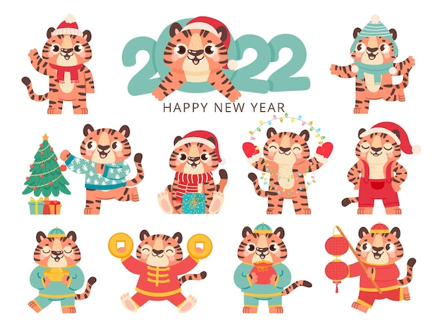 Cute tiger 2022. chinese happy new year symbol tigers in traditional costume with gold. merry christmas animal in santa hat vector set. illustration traditional christmas costume striped tiger cartoon