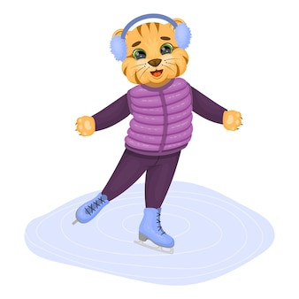 Cute tiger baby skating. a fairy tale character. vector children illustration.. vector illustration. cartoon style. isolated on white.