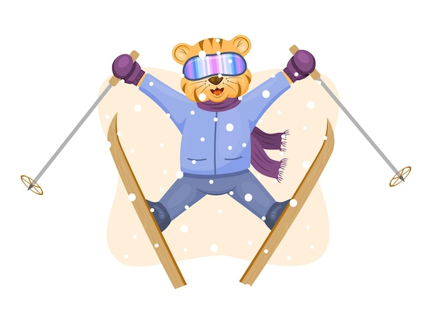 飛行中のかわいいトラの赤ちゃんスキー。おとぎ話のキャラクター。ベクトルの子供たちのイラスト。漫画のスタイル。白で隔離。