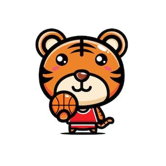 귀여운 호랑이 농구 선수 디자인
