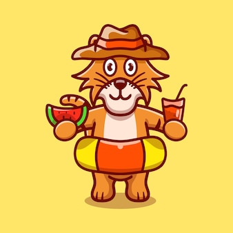 Cute tiger in beach hat with swim rings carrying watermelon and drink