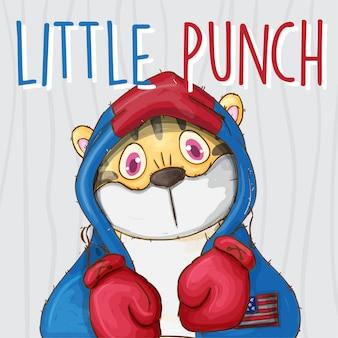 Cute tiger boxer hand drawn animal -vector