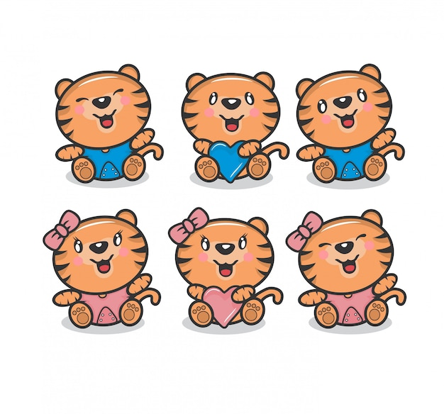 Cute tiger boys and girl character pack