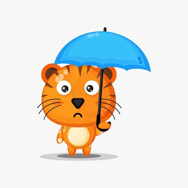 우산을 들고 귀여운 호랑이