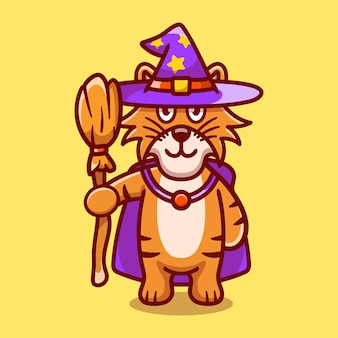Cute tiger carrying flying broom