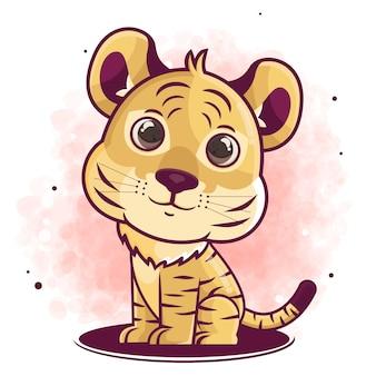 귀여운 호랑이 만화 캐릭터 앉아 그림