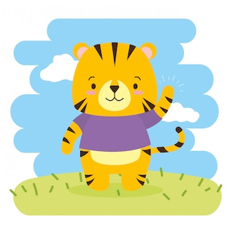Cute tiger cartoon, illustration