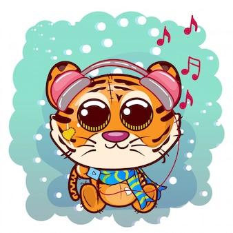 Милый мультфильм тигра с наушниками