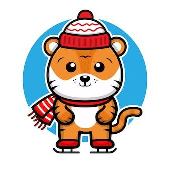 Милый тигр празднует рождество векторная иллюстрация