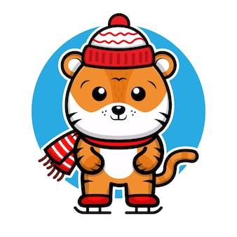Cute tiger celebrating christmas vector illustration