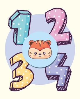 Cute tiger celebrating party kawaii character