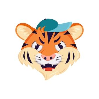 Симпатичный персонаж тигра, лицо с гневными эмоциями.