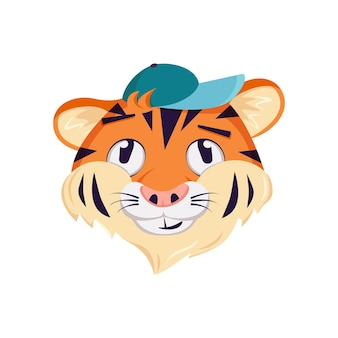 Cute tiger character, face with pensive, thoughtful emotions. wild animals of africa, funny or smile cartoon muzzle in a cap. vector flat illustration