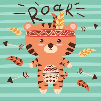 Cute tiger characters. roar illustration.