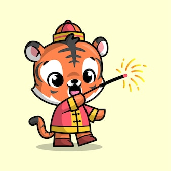 A cute tiger in a chinese outfit is playing fireworks
