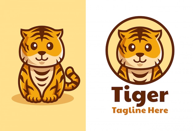 Cute tiger cub cartoon logo design