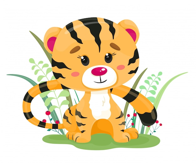 A cute tiger cub is sitting in the grass.illustration in cartoon style.
