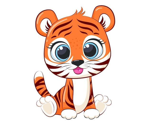 Милый тигренок сидит и улыбается. векторные иллюстрации шаржа.