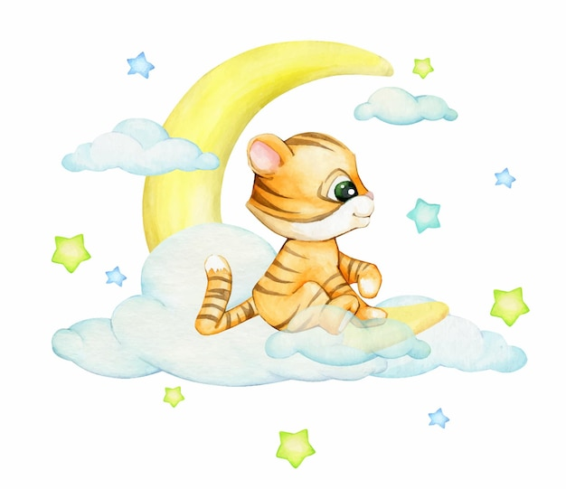 Cute tiger cub, sitting on the moon, against a background of stars and clouds, a watercolor concept