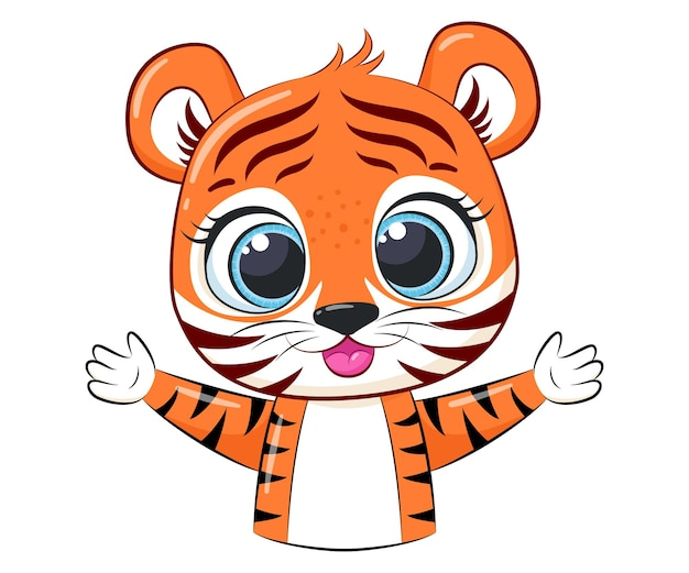 Cute tiger cub smiles. cartoon vector illustration.