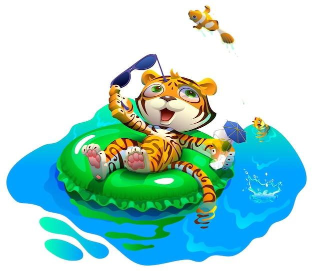 Милый тигренок плавает на надувном круге 2022 год водный тигр векторные иллюстрации шаржа