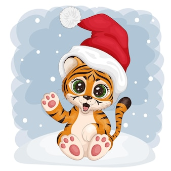 Cute tiger cub, symbol of the new year 2022, wearing a santa hat. sits on a snowdrift and waves hello. postcard, print for clothes, dishes, textiles. vector illustration eps10.