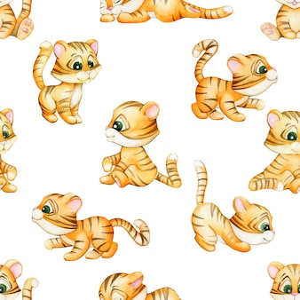 Cute, tiger cubs, in a cartoon style. watercolor seamless pattern.